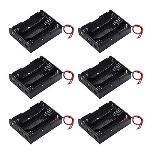 GTIWUNG 6Pcs 3 x 3.7 V 18650 Support de Batterie Boîtier en Plastique Boîte de Rangement avec Wire Leads (3 Gouttes)