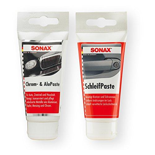 Preisvergleich Produktbild SONAX Chrom- & Alupaste 75ml Chrompaste Politur + SchleifPaste Silikonfrei 250ml
