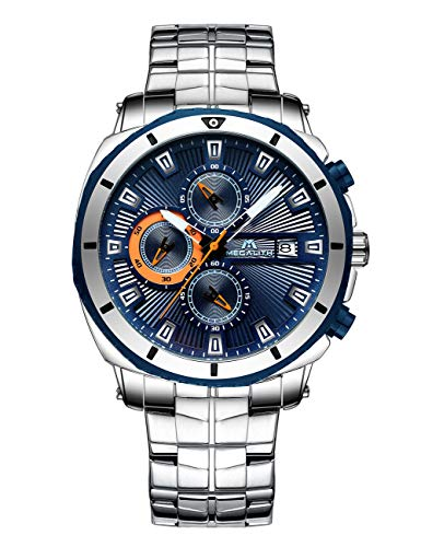 Relojes Hombre Relojes de Pulsera Militares Cronógrafo Impermeable Luminosos Azul Reloj de Acero Inoxidable Deportivo Calendario Diseñador de Analógico