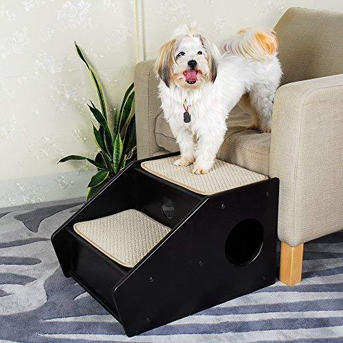 Petsfit Holzstufen für Tiere, 2 Sisalstufen, Hund 2-Stufen-Treppen, Hunde-Leiter, Hunde-Treppe für ältere oder kleinere Hunde - In dunkler-Kaffee - 53 x 43 x 35 cm
