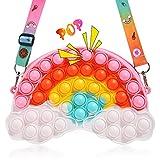 Pop Fidget Toys Shoulder Bag- Rainbow Pop Fidgets Bag Purse for Girls- Relief Stress Sensory Fidget Toys for Kids- Push Popper Crossbody Handbags School Supplies Halloween Birthday Party Gifts