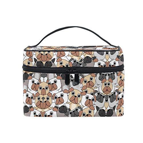 Perros Pug Puppy Dog Trousse Sac de Maquillage Toilette Cas Voyage Sac Organisateur Cosmétique Boîtes pour Les Femmes Filles