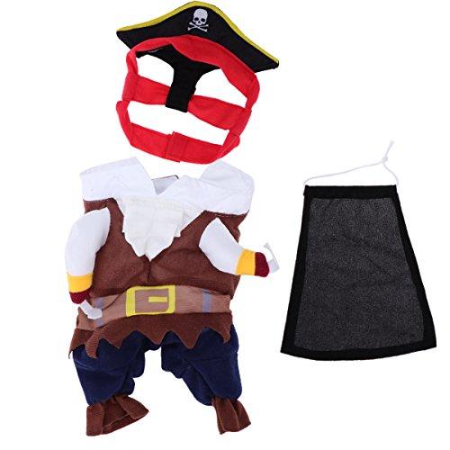 Pixnor Haustier Katze Hund Kleidung Kostüm Kleid Pirat Anzug Kleidung mit Hutgröße S