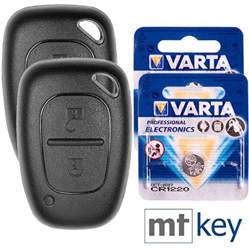 2X Autoschlüssel Set Funk Fernbedienung Austausch Gehäuse mit 2 Tasten + Batterien kompatibel mit Renault Kangoo KC Master Trafic II Opel Movano Vivaro