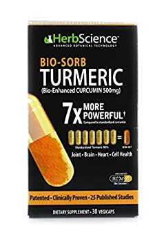HerbScience Bio-Sorb Turmeric Bio-Enhanced Curcumin Advanced Absorption Cardiovascular Health Joints Support and Anti-Aging Supplement 30 Servings