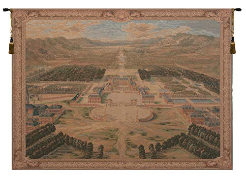 Charlotte Home Furnishings Inc. 'Versailles Castle XVII By Pierre Patel' French Large Tapestry Wall Hanging | Wool and Cotton Blend Wall Art | 78 in. x 58 in. | Home Decor Accents