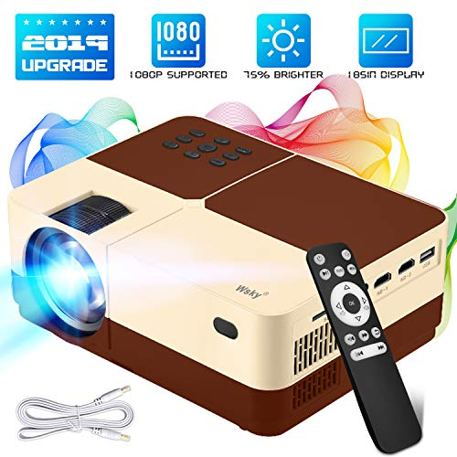 Wsky Portable Home Theater Video Projector - Newest 2019 3000Lux HD Video Projector - Support 1080P 1920x1080 Resolution - Perfect for Watching Movies Home Entertainment or Gift Giving (Brown)