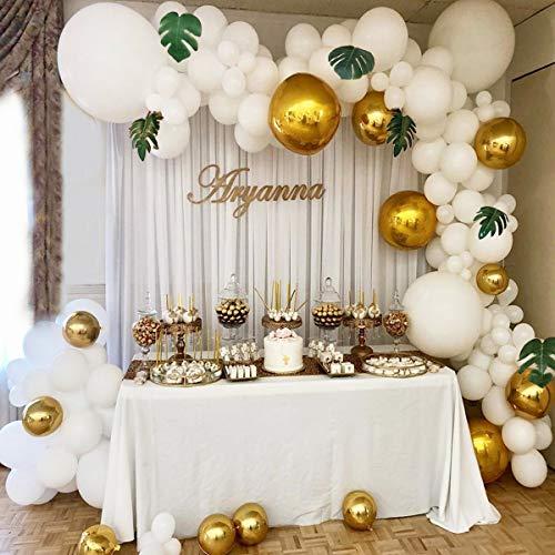 xingqiwu Kit de Arco de Guirnalda con Globos Globos de látex Dorados y Blancos para la Fiesta de Despedida de Soltera de cumpleaños Fiesta de Despedida de Soltera Contexto Fondo Decoraciones