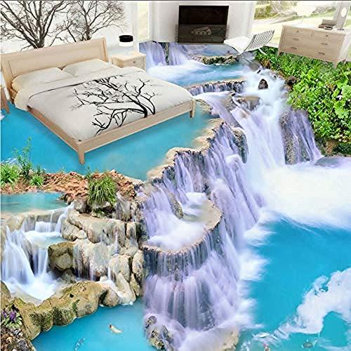Wasserfall Fließendes Wasser 3D Boden Wandbilder Wohnzimmer Badezimmer Schlafzimmer Boden Dekoration Malerei PVC Selbstklebende Wandbild Tapete 200x140 cm
