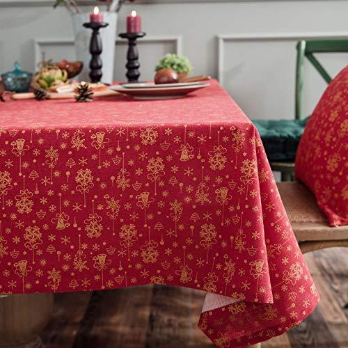 HJCC Mesa Navideña De Lino Y Algodón Estampada con Mantel De Carillón De Viento Bronceado para Bodas Fiesta Buffet Navidad Cumpleaños Restaurante,Rojo,140 * 140cm
