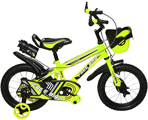 Outplayo Tube-Less Kids Bike Free Bird 14T Unisex Kids Cycle for 3 to 5 Years Age, 66cm Steel Frame (Green)