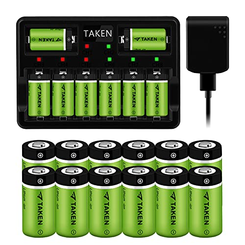 Taken 20 Pack CR123A Battery and Charger, 3.7V 750mAh Arlo Rechargeable Batteries Compatible with Arlo Cameras (VMC3030/VMK3200/VMS3330/3430/3530), Flashlight, Microphone