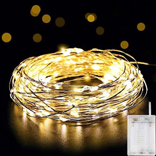 SALCAR Stringa Luci LED a Batteria, Catena Luminosa 10m 100 LED con Filo Rame Ghirlanda Luminosa Lucine LED Decorative - Bianco Caldo
