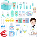 Doctor - Maletín de Médico, Juego de Rol, para Niñas Niños, Verde, 33 piezas