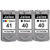 Jalee 3 Cartuchos de Tinta refabricado para Usar en Lugar de Canon PG-40 CL-41 Compatible para Canon PIXMA MP140 MP150 MP160 MP170 MP180 MP190 MP210 MP220 MP450 MP460 MP470 MX300 MX310 iP2500 iP2600