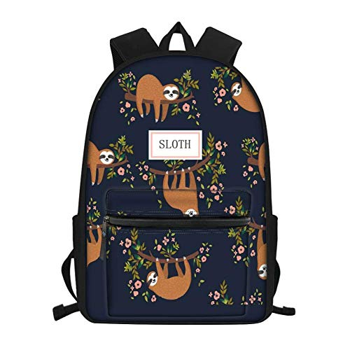 Stylish Sloth Childrens Back Packs Girls Backapcks with Water Bottle Holder Elementary Lightwieght Waterproof Bookbags Teens