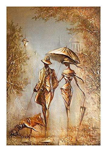 Without Romantische Elegante Paar Damen Acrylfarbe Ölgemälde nach Zahlen handgemalt auf Leinwand Home Wandkunstdekoration (Color : 215, Size(cm) : 40x50cm DIY Frame)