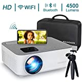 WiFi Projector Bluetooth Projector, Fangor 4500 Lux Portable Movie Projector Full HD 1080P Supported, Compatible with TV Stick, HDMI, VGA, USB, Laptop, iOS Android Smartphone Projector, Regions Free