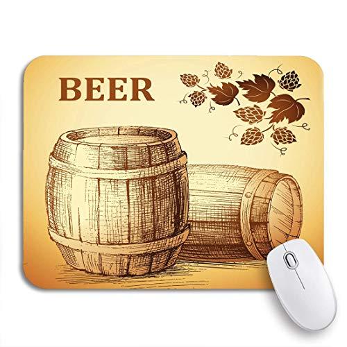 N\A Alfombrilla de ratón para Juegos Cerveza Verde Barril Trigo y lúpulo Barril de Madera Roble Antideslizante Soporte de Goma Alfombrilla de ratón para portátiles Alfombrillas de ratón
