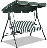 SFGHOUSE - Copertura per altalena da giardino di ricambio per sedia a dondolo da giardino a 3 e 2 posti, anti-UV per esterni (164 x 115 x 15 cm, verde scuro)