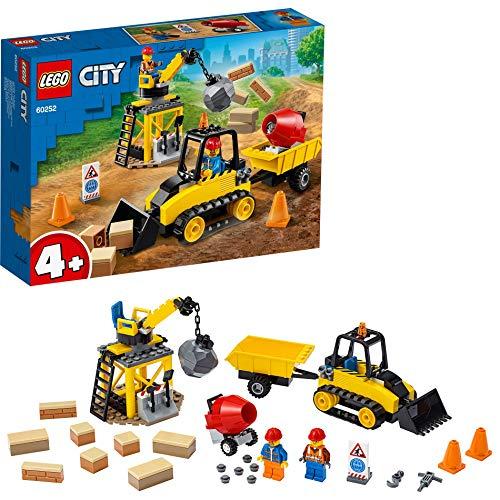 LEGO 60252 City Bagger auf der Baustelle, Spielzeug mit Starter-Steinen und Kran für Vorschulkinder ab 4 Jahren