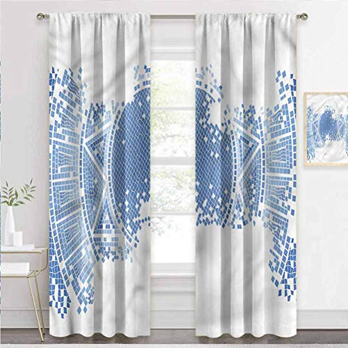 painting-home Window Curtain Geometric, Old Worn Out Mosaic Light Filtering & Privacy Curtain for Nursery & Playroom W72 x L72 Inch