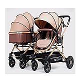 JIAX Zwillingskinderwagen nebeneinander, Faltbarer Doppelsitz-Tandem-Kinderwagen mit Verstellbarer Rückenlehne, Doppel-Kinderwagen für Neugeborene und Kleinkinder, Fußstütze, abschließbare Räder