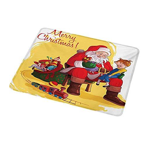 Umwelt Gummimaus Matte Weihnachten, kleines Kind sitzt auf Santa Knee mit Geschenken Puppe und Spielzeugeisenbahn Kinder Design, Multicolorfor Magic Mouse