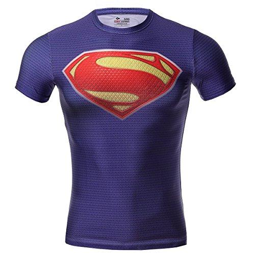 Cody Lundin hombre Maneja de compresión de jog aptitud movimiento de superhéroe camisetas manga corta (XL, purple)