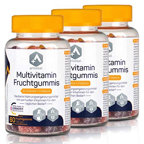 Multivitamin Kapseln zum Kauen – 3x 60 kaubare Vitamin Tabletten für Kinder & Erwachsene – 8 Vitamine & Folsäure – Made in Germany (3 Monate)