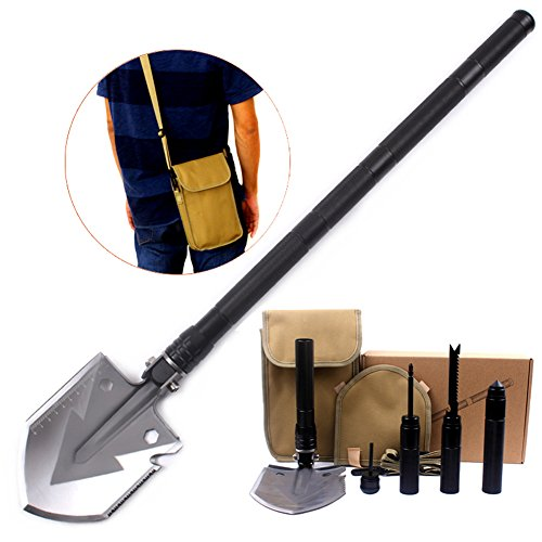 Utility Folding Shovel, MythGeek Survival Compact Folding Shovel Kit with Multi Tools, Hoe, Knife, Saw, Rope Cutter, Harpoon, Fire Stick, Compass, Cone Hammer, use for Camping Hiking Garden, Black