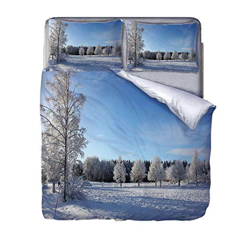 Set De Funda Nórdica Bosque de Invierno 3D-trapunta de polialgodón Estampado, Funda Nórdica y Fundas de Almohada de algodón 220cm x 230cm