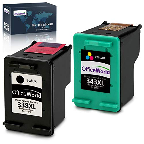 OfficeWorld Remanufactured HP 338 343 Cartucce d'inchiostro Compatibile per HP Photosmart 2575, HP Photosmart C3180 8150, HP Deskjet 5740, HP Officejet 150 H470, HP PSC 2355
