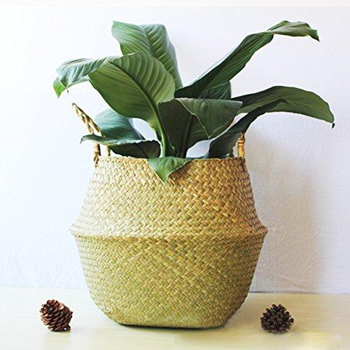 Yunhigh natürliche Seegras Bauch Korb Panier Runde Hand geflochten Korb mit Griff Faltbare Pflanze Blumentöpfe Spielzeug Wäsche Lagerung Veranstalter groß