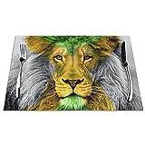 Platzsets Abwaschbar 6er Set , rutschfest Abwaschbar Vinyl Hitzebeständig Lion jamaikanische Flagge Tischsets für Dinnerpartys, Küche, Hause, Restaurant, Hotel 45 x 30 cm