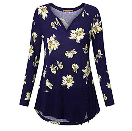 VEMOW Sommer Herbst Elegant Damen Oberteil Langarm O Neck Printed Flared Floral Beiläufig Täglich Geschäft Trainieren Tops Tunika T-Shirt Bluse Pulli(A2-Blau, 52 DE / 5XL CN)