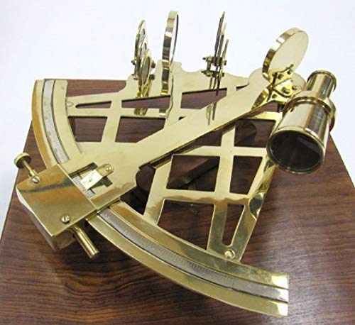 "Large Brass Sextant W/Wooden Box - 10"" - Nautical Navigation Collection"