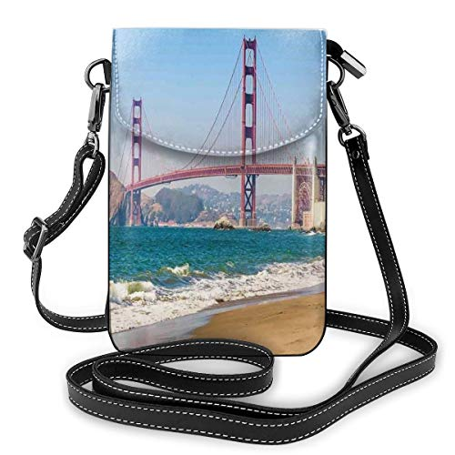 Jiger Women Small Cell Phone Purse Crossbody,Panoramic View Of Golden Gate Bridge San Francisco Coastline Nature Seascape