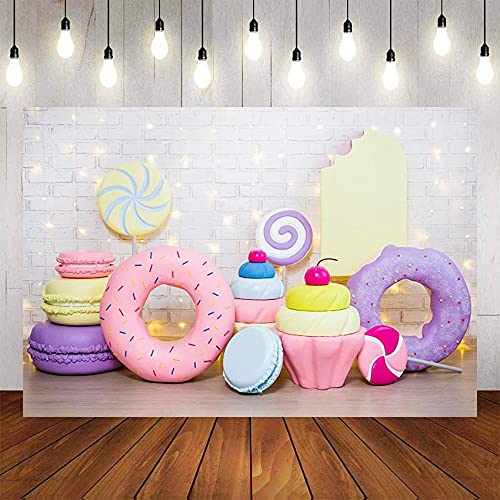 Fondo de fotografía de Helado de piruletas de Caramelo Donuts Baby Shower Fiesta de cumpleaños Photophone Telón de Fondo Estudio fotográfico A3 10x7ft / 3x2.2m