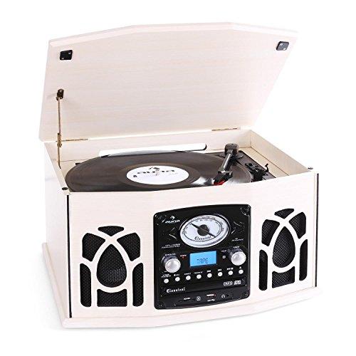 auna NR-620 - Kompaktanlage mit Plattenspieler, Schallplattenspieler, CD-Player, UKW Radio, Riemenantrieb, max. 45 U/min, USB/SD-Eingang, Kassettendeck, Digitalisierungsfunktion, Creme