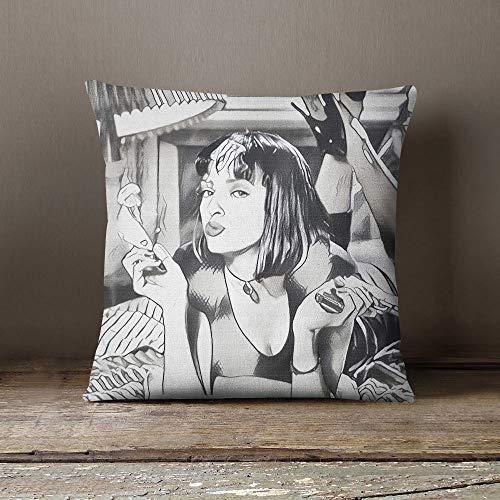 73Elley Pulp Fiction Funda de almohada decorativa diseño de almohada funda de almohada regalo película Home Cinema Decor Home Theater Decor Tarantino Thurman