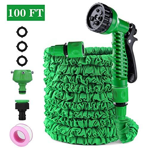 Tubo da Giardino, 100FT 30M Tubo Acqua Giardino Flessibile Tubo da Giardino Estensibile Tubo Irrigazione Estensibile con 8 Funzioni di Spruzzo per Irrigazione del Giardino Lavaggio Auto (verde)