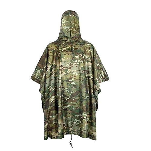 Outdoor Peak Unisexe Nylon imperméable Poncho de Pluie Camouflage regenmante Veste imperméable Rain Coat Cape de Pluie imperméable Cape de Pluie Protection Contre l'humidité Militaire, Tarnung