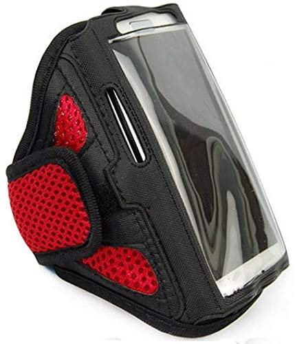 Fitness-Armband Jogging Oberarm passend für Samsung Galaxy A51, A60, A90, M20 Sport Oberarm Joggen Oberarm Tasche Wasserfest Arrow Groß Rot