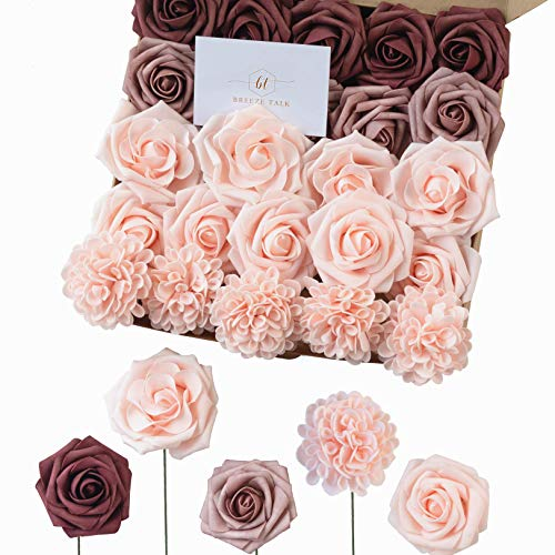 Breeze Talk Artificial Flowers Delicate Dusty Rose Roses Realistic Fake Roses w/Stem for DIY Wedding Bouquets Centerpieces Arrangements Party Baby Shower Home Decorations