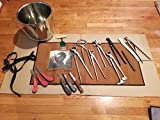 Equipment Essentials 18 Piece Farrier's Tool Kit Set Horse Hoof Nippers Clincher Tester Knife Rasp Chisel + Bucket & Fold Up Case