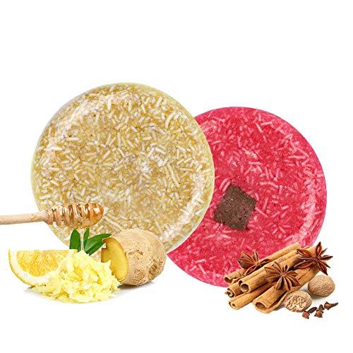100% Vegan Shampoo Bar fürs Haar 2 Stücke Festes Shampoo HaarseifeNaturkosmetik für Behandeltes Trockenes Geschädigtes Haar für Damen Herren (Zimt und Ingwer)