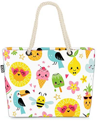 VOID Tukan Melone Party Strandtasche Shopper 58x38x16cm 23L XXL Einkaufstasche Tasche Reisetasche Beach Bag