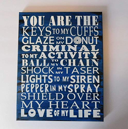 Police Sign Wall Decor Love of My Life Word Art Painted Canvas