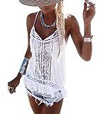 Camiseta Casual de Mujer Camisola con Encaje Empalmado y Tirantes Chaleco sin Mangas Camiseta Camisola con Cuello en V Chaleco sin Mangas (Blanco, L)